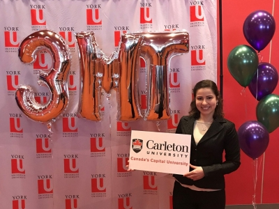 Photo for the news post: Carleton Grad Student Takes 2nd Place at Ontario 3MT Competition
